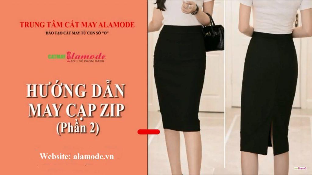 may chan vay cap jupe 1024x576 - Cắt may cạp chân váy jupe- zip